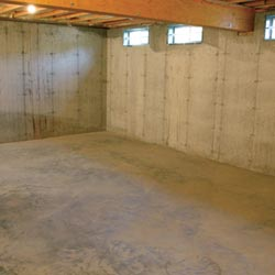 A cleaned out basement in Beckley, shown before remodeling has begun
