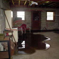 A flooded basement showing groundwater intrusion in Saint Albans