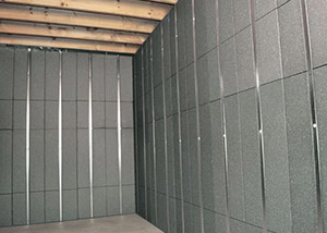 SilverGlo™ insulation and metal studs making up our Basement to Beautiful™ panels.  Installed in Athens.