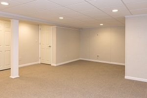 A complete finished basement system in a Ironton home