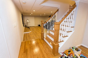 Finishing touches for a remodeled basement in Huntington