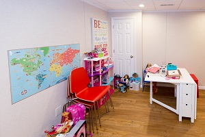 Children's playroom installed in a Charleston basement