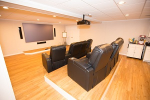 A basement turned into a home theater in Saint Albans