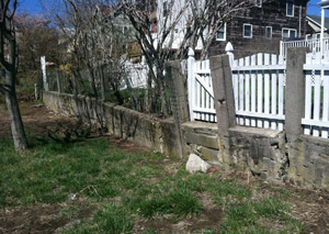 a retaining wall installed in Huntington