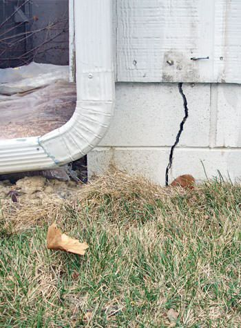 foundation wall cracks due to street creep in Belpre