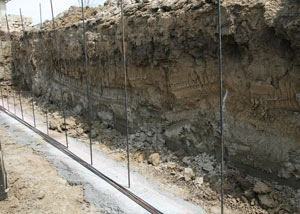 Soil layers exposed while excavating to construct a new foundation in Hurricane