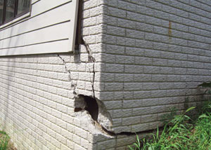 A severely damaged foundation wall in Pikeville
