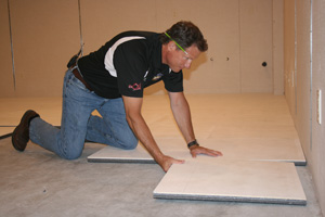 Installing ThermalDry® insulated subflooring over concrete slab